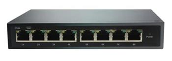 ADEX AX1000-8GPDM reversní poe switch, 8x Gbit port, metal